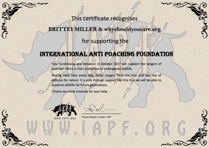 Donation Certificate_2017 Brittnei Miller